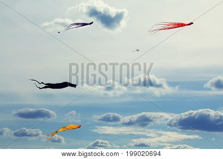 Colorful flying kites beautiful futuristic cloudscape background. Summertime holidays and freedom conceptual photography