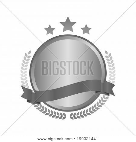 Modern Metal Silver Circle Metal Badges, Labels And Design Elements. Vector Illustration