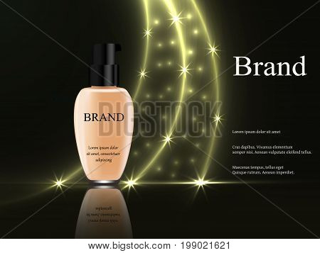 Concealer On A Dark Background With Golden Rays Of Light And Bright Stars And Glare, A Tube Of Light