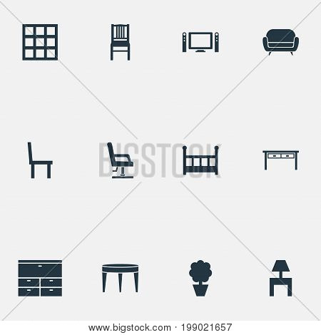 Elements Plant, Sideboard, Chair And Other Synonyms Cushion, Children And Locker.  Vector Illustration Set Of Simple Furnishings Icons.