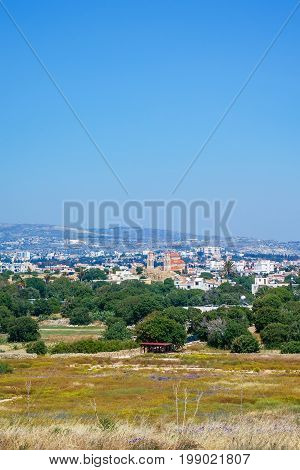 View of the town of Paphos and Agioi Anargyroi Orthodox Cathedral from the Cyprus Archaeological park at Kato Paphos, Cyprus