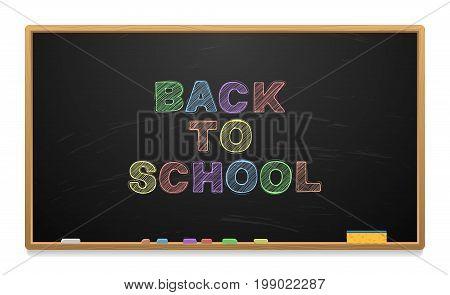 School board with chalk. Chalk and sponge. Vector illustration