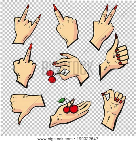 Human hands different pose signal human fingers