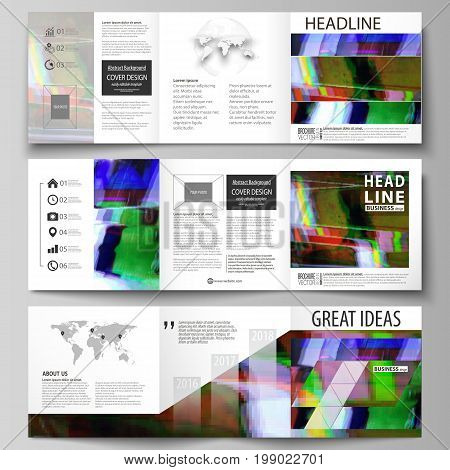 Set of business templates for tri fold square design brochures. Leaflet cover, abstract flat layout, easy editable vector. Glitched background made of colorful pixel mosaic. Digital decay, signal error, television fail.
