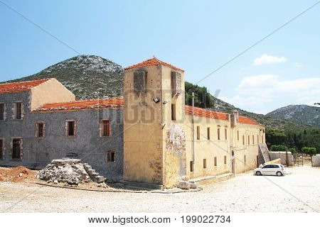 Tower and entrance to the monastery of Gouverneto (1537) on the island of Crete. Greece