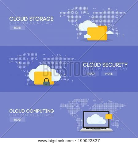 Cloud Coputing Storage Service And Security Banner Concept. Vector Illustration