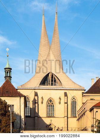 Emmaus Monastery Na Slovanech, aka Emauzy, with two modern spiky towers, Prague, Czech Republic.