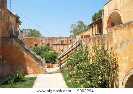 Courtyard of the monastery of the Holy Trinity (1612) on the island of Crete. Greece