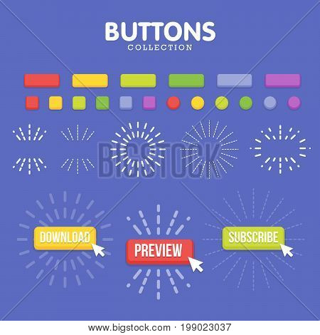 Buttons Maker Constructor. Create Your Banner For Web, Presentation, Game