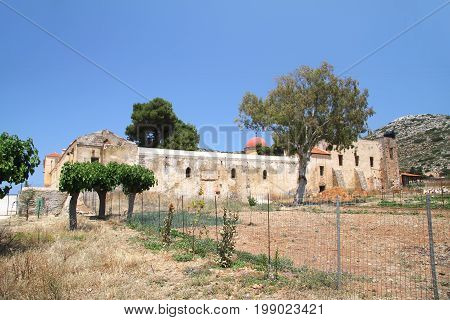 Wall of the monastery of Gouverneto (1537) on the island of Crete. Greece