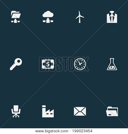 Elements Flask, Clock, Folder Network And Other Synonyms Download, Database And Wind.  Vector Illustration Set Of Simple B2B Icons.
