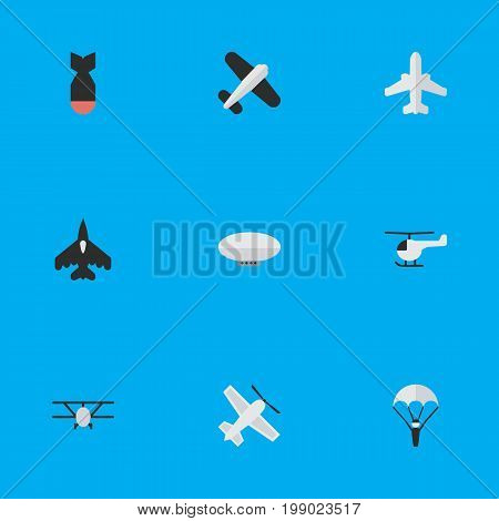Elements Airplane, Flying Vehicle, Aviation And Other Synonyms Chopper, Parachute And Airplane.  Vector Illustration Set Of Simple Plane Icons.