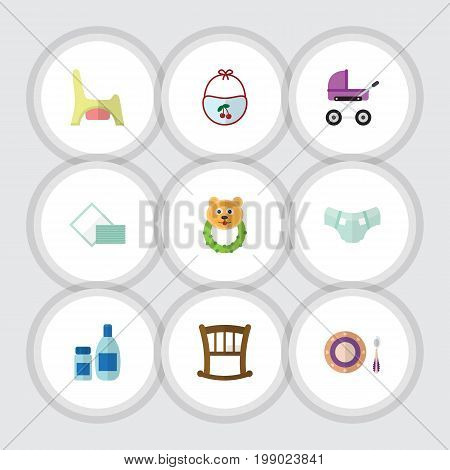 Flat Icon Baby Set Of Rattle, Stroller, Cream With Lotion And Other Vector Objects