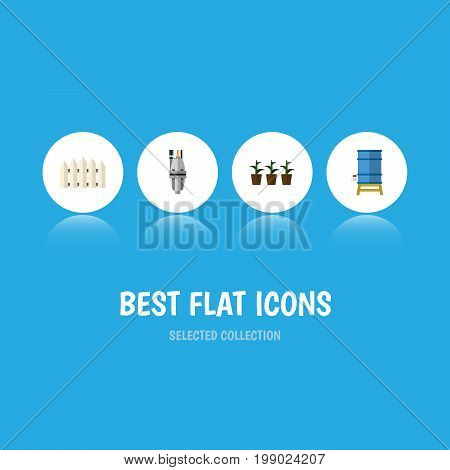 Flat Icon Garden Set Of Container, Flowerpot, Pump And Other Vector Objects