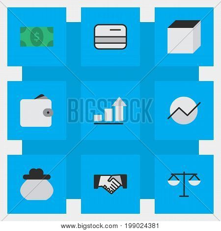 Elements Growing, Greenback, Agreement And Other Synonyms Scales, Rubik And Hands.  Vector Illustration Set Of Simple Job Icons.