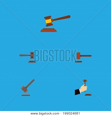 Flat Icon Court Set Of Hammer, Tribunal, Legal And Other Vector Objects