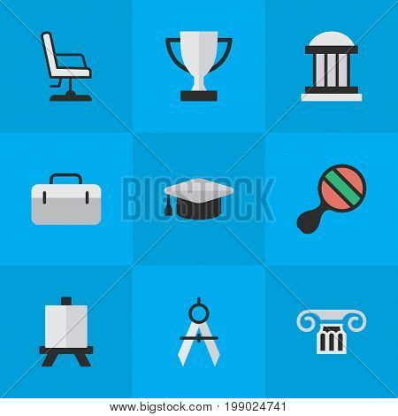 Elements University, Academic Hat, Armchair And Other Synonyms Pong, Academic And Easel.  Vector Illustration Set Of Simple Education Icons.