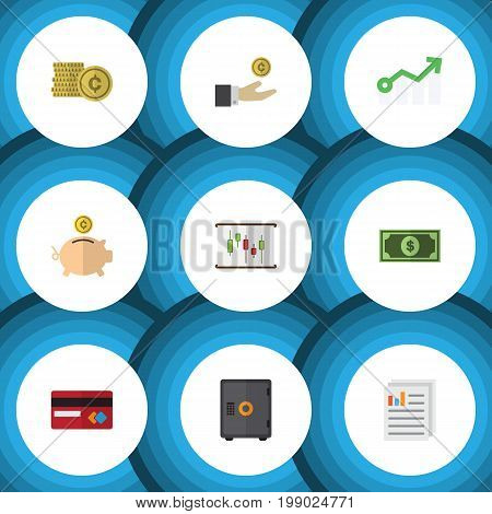 Flat Icon Finance Set Of Money Box, Hand With Coin, Document Vector Objects