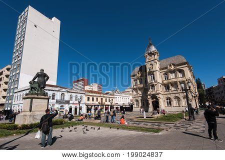 Curitiba, Brazil - July 21, 2017: Former Town Hall, now Liberty Hall, located in the city center.