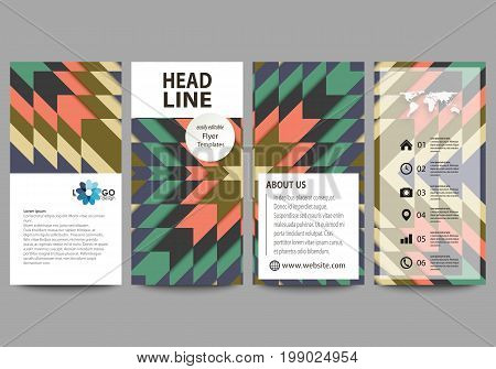 Flyers set, modern banners. Business templates. Cover design template, easy editable abstract vector layouts. Tribal pattern, geometrical ornament in ethno syle, ethnic hipster backdrop, vintage fashion background.