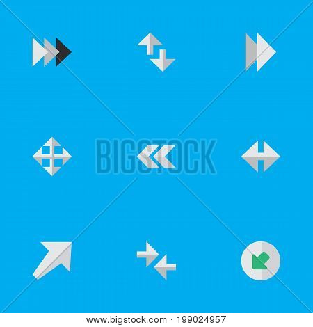 Elements Onward, Cursor, Back And Other Synonyms Import, Rearward And Backward.  Vector Illustration Set Of Simple Arrows Icons.