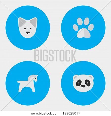 Elements Foot, Bear, Wolf And Other Synonyms Dog, Wolf And Animal.  Vector Illustration Set Of Simple Animals Icons.
