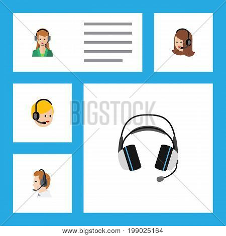 Flat Icon Center Set Of Secretary, Earphone, Telemarketing And Other Vector Objects