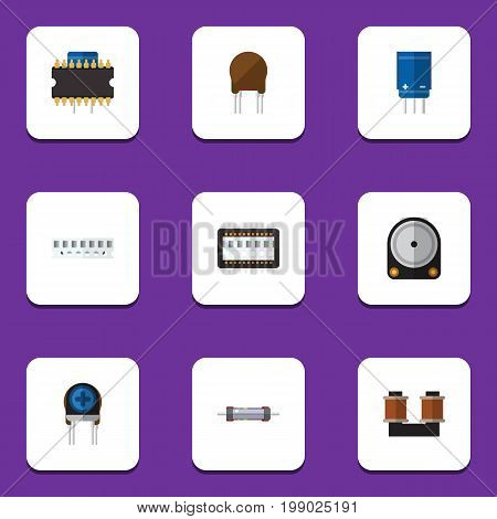 Flat Icon Technology Set Of Microprocessor, Memory, Resistor And Other Vector Objects