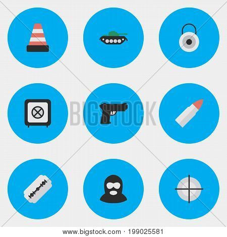 Elements Lock, Military, Isolated And Other Synonyms Isolated, Military And Tank.  Vector Illustration Set Of Simple Crime Icons.