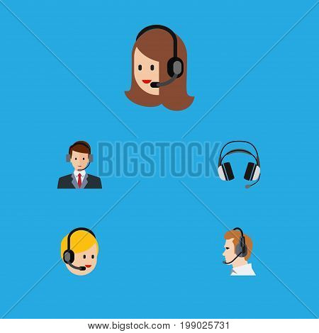 Flat Icon Center Set Of Hotline, Service, Call Center And Other Vector Objects