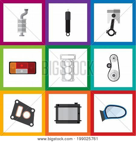 Flat Icon Auto Set Of Auto Component, Packing, Cambelt And Other Vector Objects