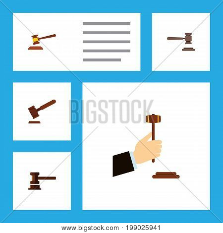 Flat Icon Lawyer Set Of Legal, Hammer, Government Building And Other Vector Objects