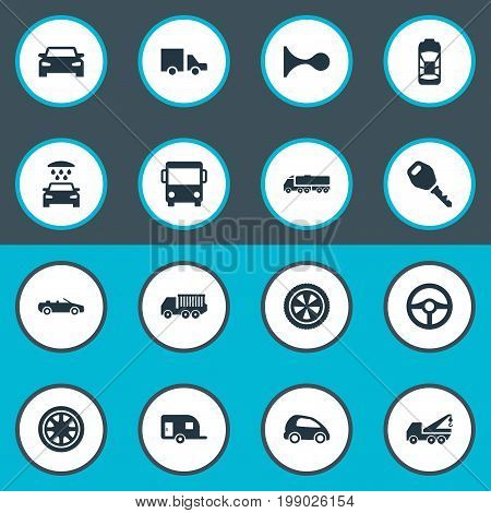 Elements Transport Cleaning, Lattice, Repair And Other Synonyms Circle, Toy And Truck.  Vector Illustration Set Of Simple Automobile Icons.