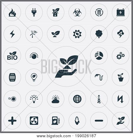 Elements Plug, Eco Home, Bulb And Other Synonyms Power, Forecast And Greenhouse.  Vector Illustration Set Of Simple Power Icons.