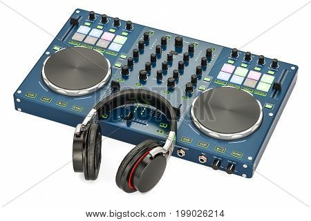 DJ Console with headphones 3D rendering isolated on white background
