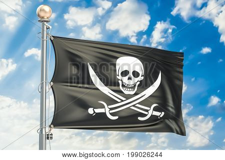 Piracy flag waving in blue cloudy sky 3D rendering