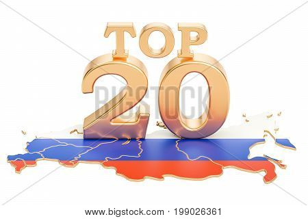 Russian Top 20 concept 3D rendering isolated on white background