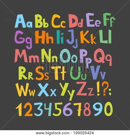 Funny Comics Font. Hand Drawn Lowcase And Uppercase Colorful Cartoon English Alphabet With Lower And