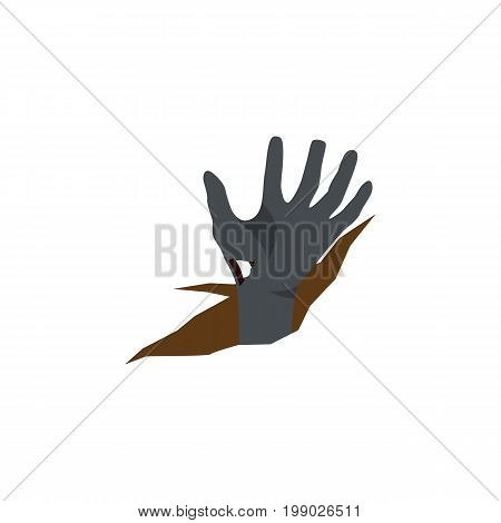 Zombie Vector Element Can Be Used For Zombie, Corpse, Hand Design Concept.  Isolated Corpse Hand Flat Icon.