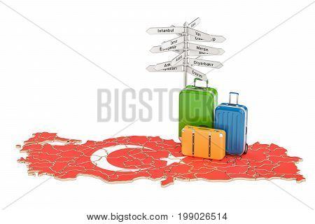 Turkey travel concept. Suitcases with signpost on Turkish map 3D rendering