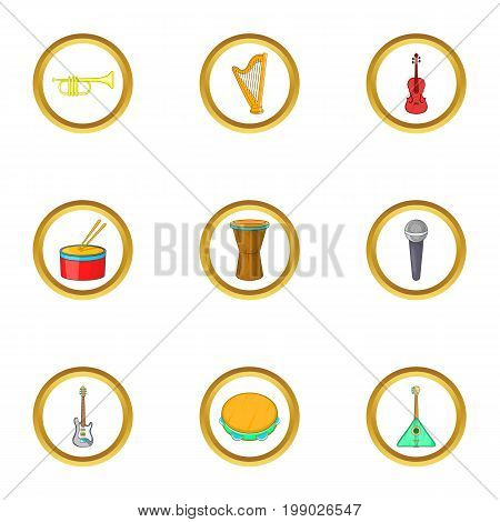 Orchestra icons set. Cartoon set of 9 orchestra vector icons for web isolated on white background