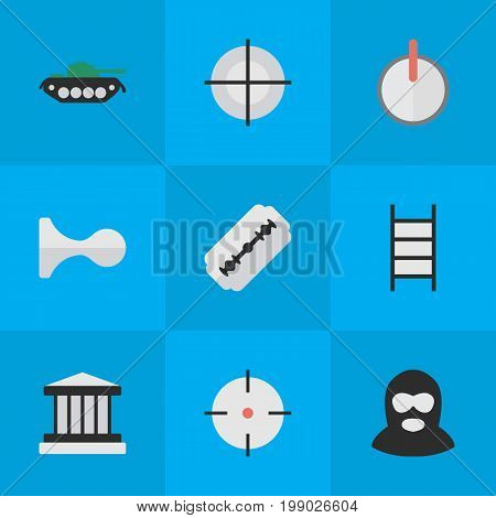 Elements Grille, Target, Criminal And Other Synonyms Sniper, Shot And Burglar.  Vector Illustration Set Of Simple Criminal Icons.