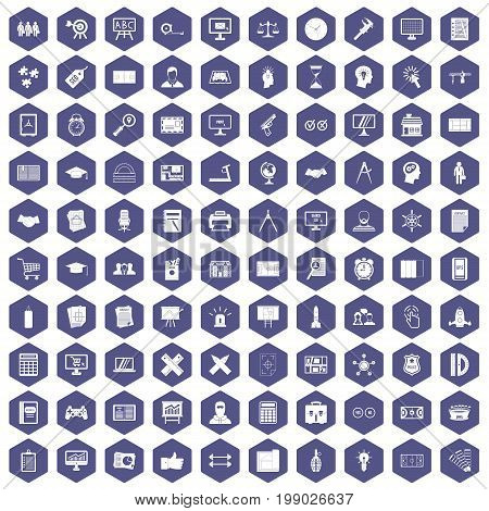 100 plan icons set in purple hexagon isolated vector illustration