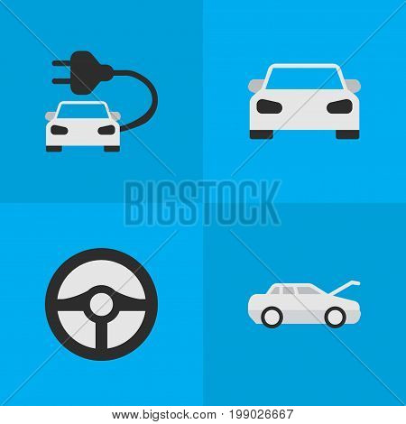 Elements Sport, Automobile, Steering And Other Synonyms Charge, Steering And Car.  Vector Illustration Set Of Simple Transportation Icons.