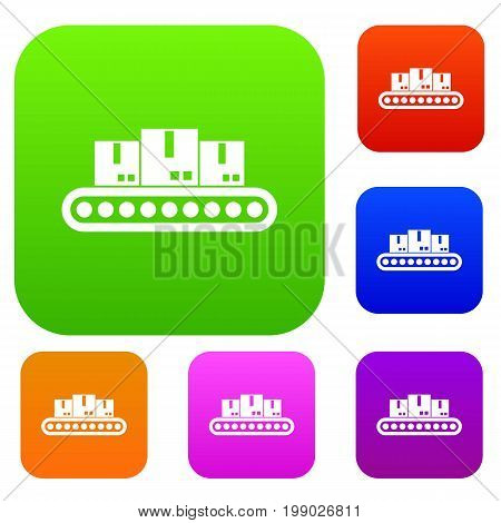 Belt conveyor with load set icon in different colors isolated vector illustration. Premium collection