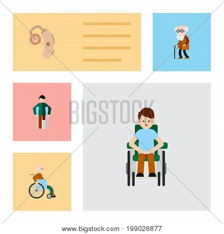 Flat Icon Cripple Set Of Injured, Disabled Person, Handicapped Man Vector Objects