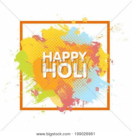 Happy Holi Spring Festival Of Colors Greeting Background With Colorful Holi Powder Paint Clouds And