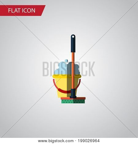 Mop Vector Element Can Be Used For Bucket, Mop, Cleaning Design Concept.  Isolated Bucket Flat Icon.