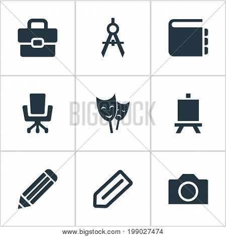 Elements List, Circle Compass, Briefcase And Other Synonyms Pen, Camera And Compass.  Vector Illustration Set Of Simple Designicons Icons.