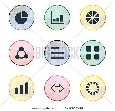 Elements Pattern, Reverse Arrows, Segment And Other Synonyms Progress, Increase And Graph.  Vector Illustration Set Of Simple Graph Icons.